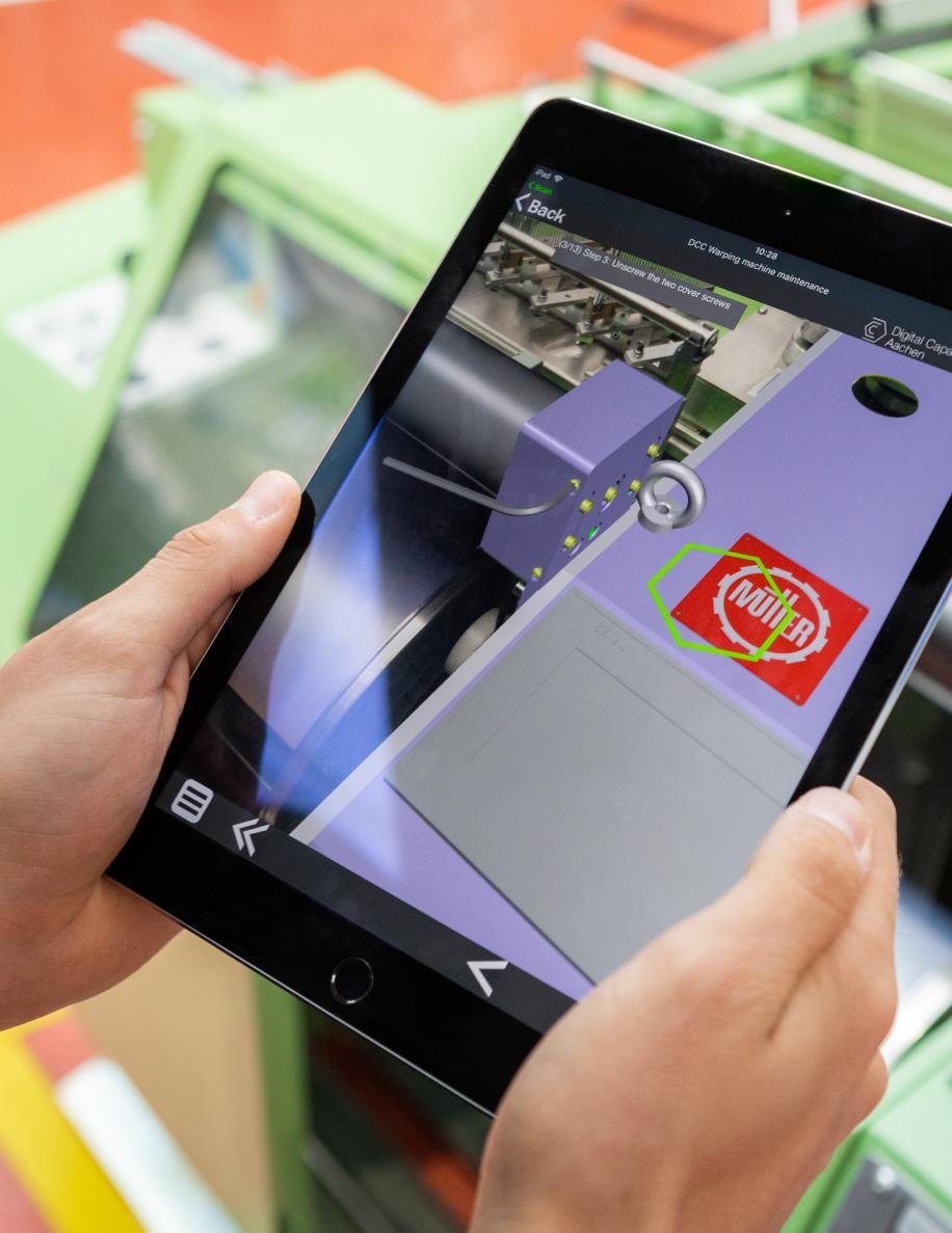 Tablet mit grafischen Elementen von einer Maschine